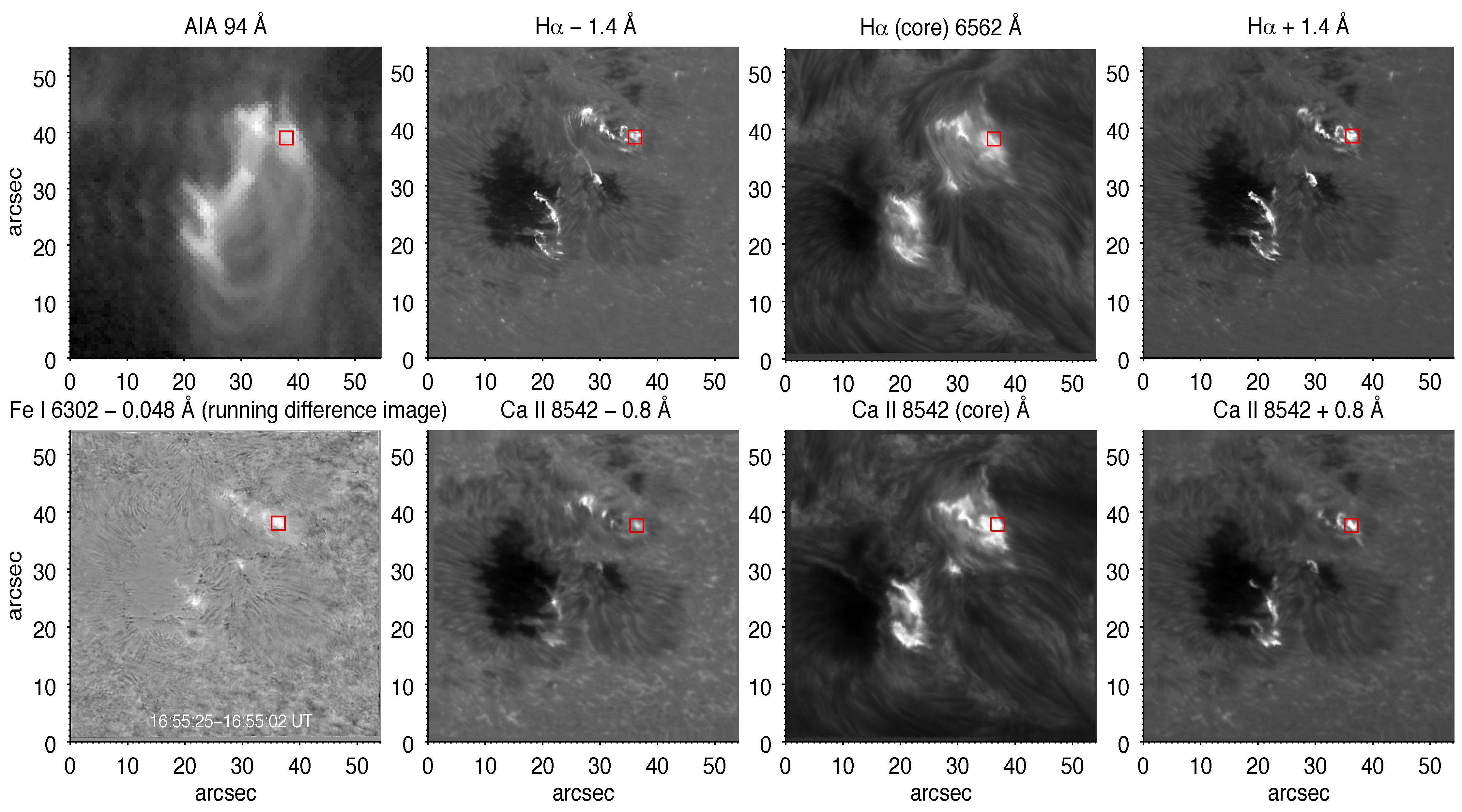 წყალბადის (Hα 6563 Å), ინფრაწითელი კალციუმის (Ca ıı 8542 Å) და რკინის (Fe I λ6302 Å) ხაზებში დაკვირვებული M-კლასის მზის ანთების სურათები მიღებული შვედურ, ერთმეტრიან მზის ტელესკოპზე ფაბრი-პერო ტიპის სპექტროგრაფით. ფიგურის მარჯვენა ზედა კუთხეში ასევე მოცემულია მზის დინამიკური ობსერვატორიიდან (SDO) მიღებული კორონალური სურათი.